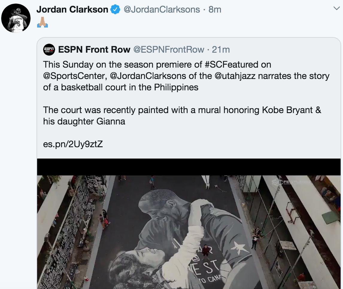 乔丹-克拉克森推特转发怀念科比的视频