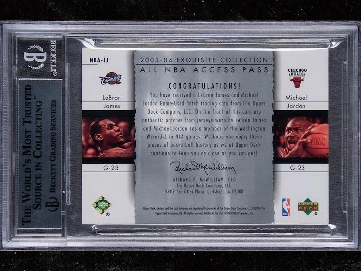 乔丹与勒布朗同框球星卡被拍出90万美金天价,史上最贵