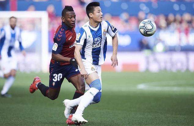 武磊首发迭戈-洛佩斯染红,西班牙人客场0-1奥萨苏纳