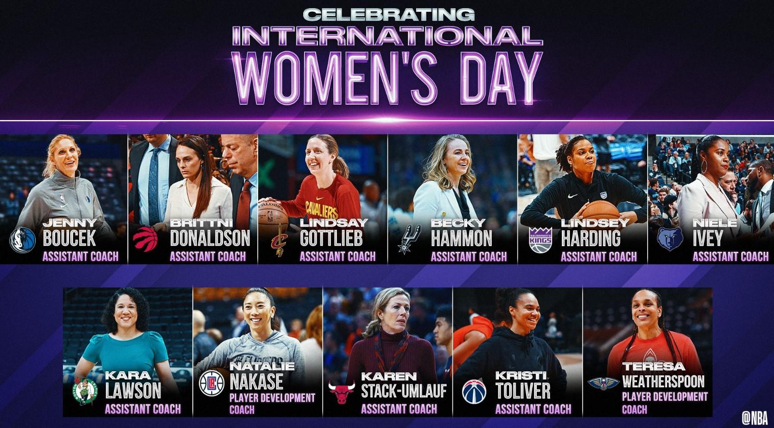 NBA官方推特列举11位女性助教,并祝广大女性节日快乐