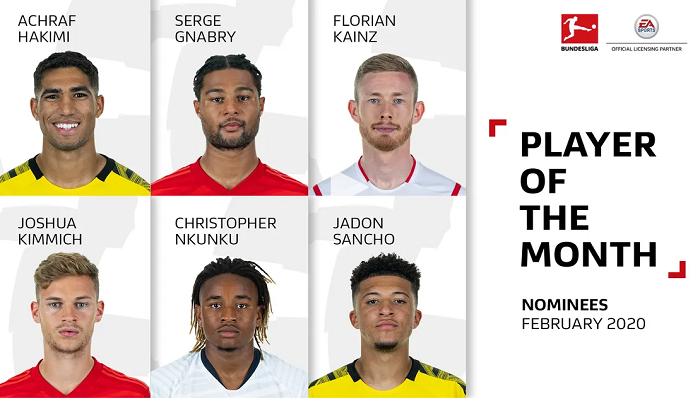 德甲二月最佳球员候选:格纳布里和桑乔在列