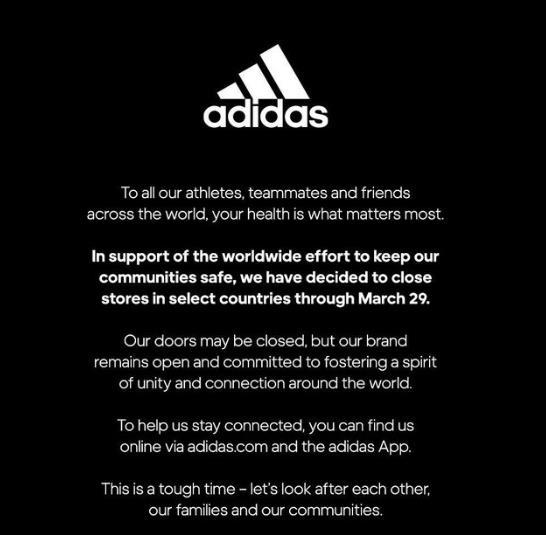 阿迪达斯官方宣布将关闭部分国家的门店