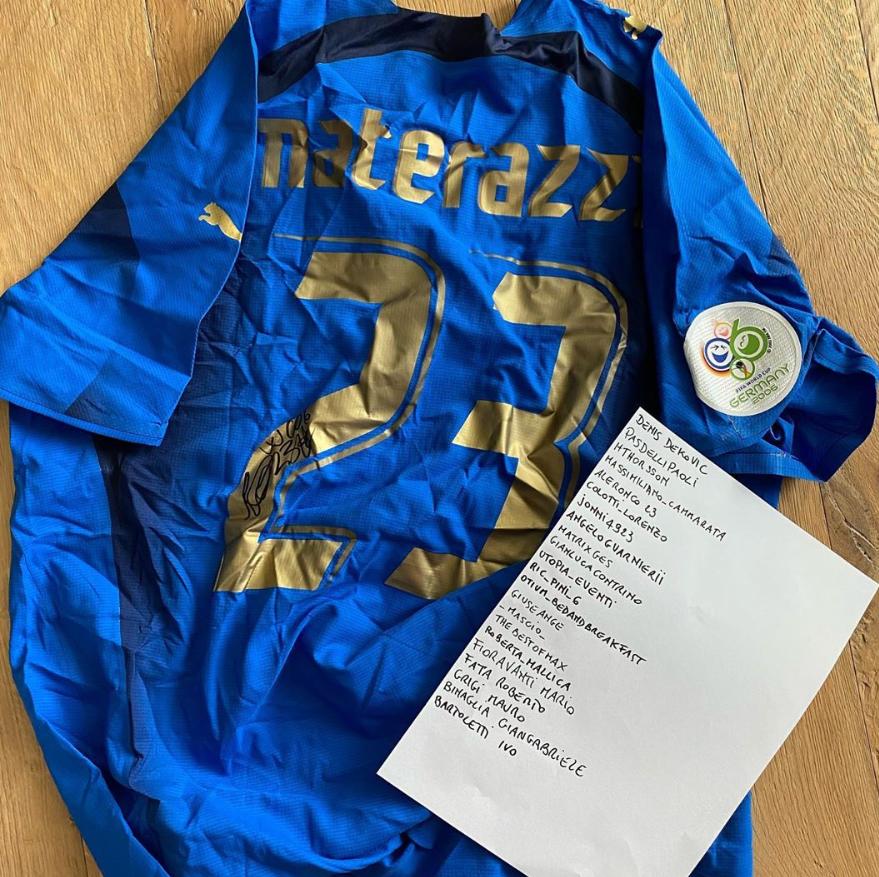 马特拉齐拍卖06年世界杯球衣,资金将捐赠支援抗击疫情