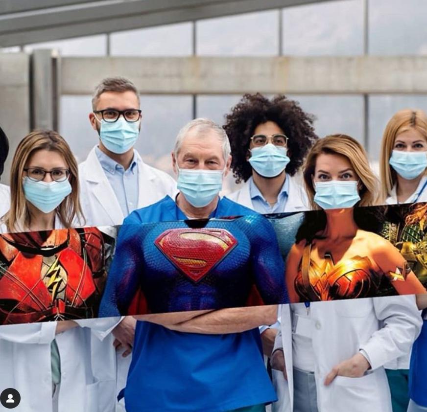 乔治娜问候抗疫人员:真实的英豪不穿大氅,他们穿防护服