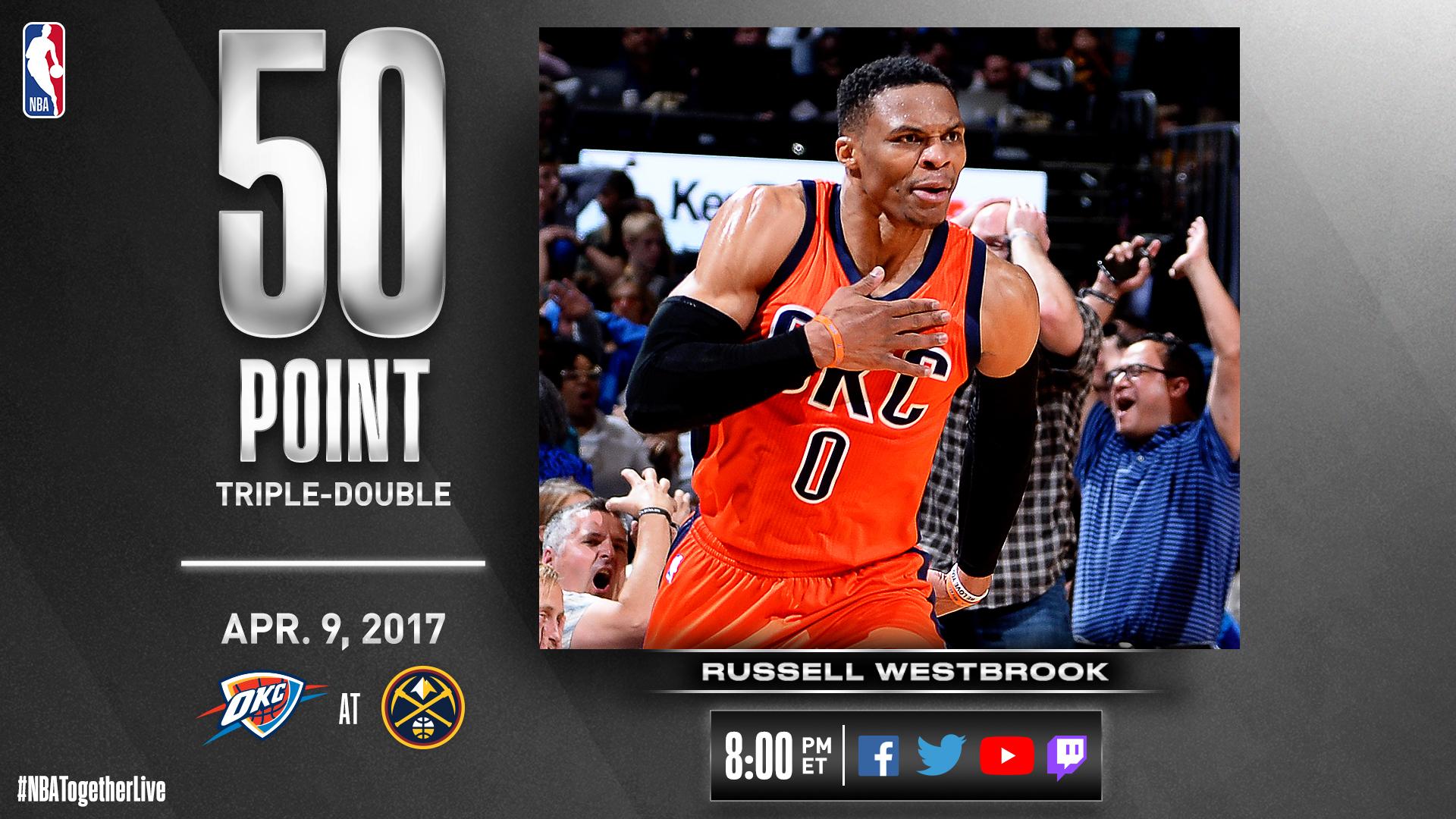 NBA官方将回放威斯布鲁克17年50分16篮板10助攻的比赛