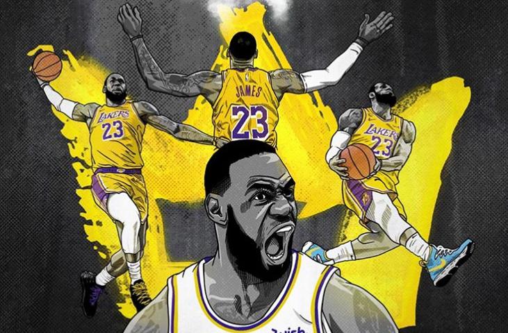 nba NBA官方社媒晒詹姆斯特效图:他把showtime又带回了LA