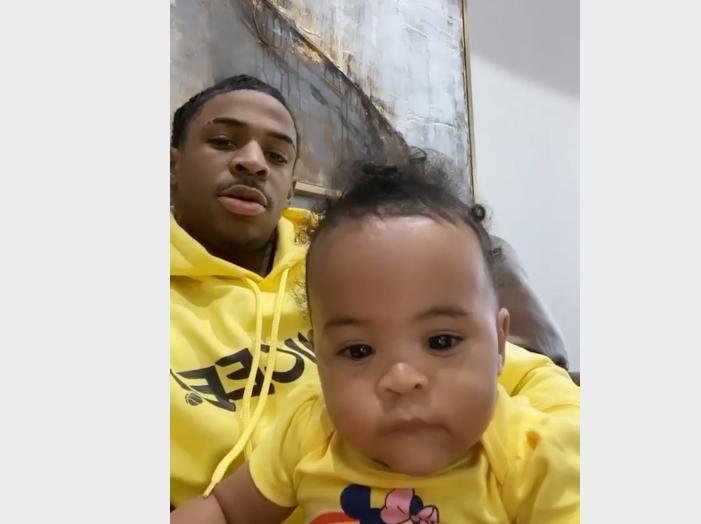 nba说唱 年轻奶爸,莫兰特发布在家带女儿玩耍的图片