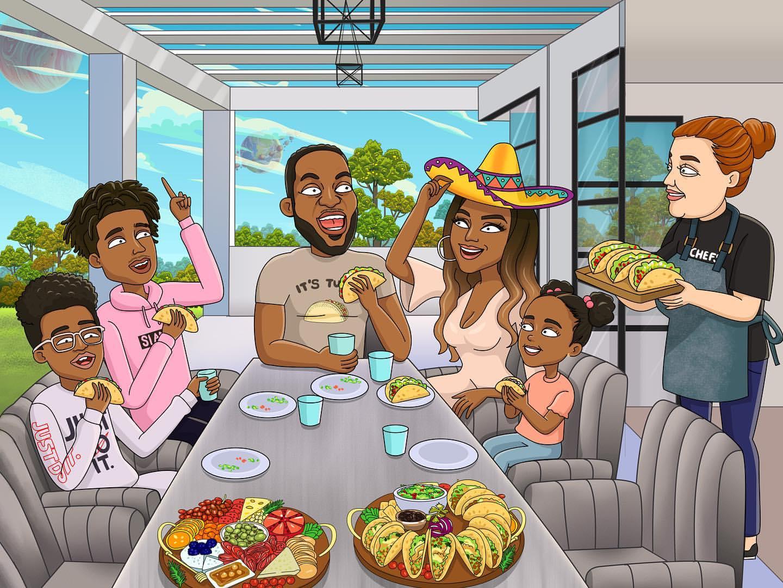 家庭传统!詹姆斯转发Taco聚餐主题全家福漫画