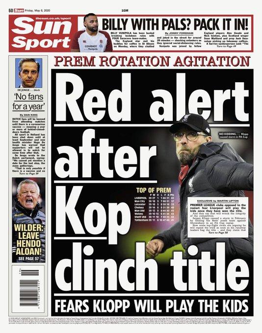部分英超球队担心,利物浦提前夺冠后就会派年轻球员比赛