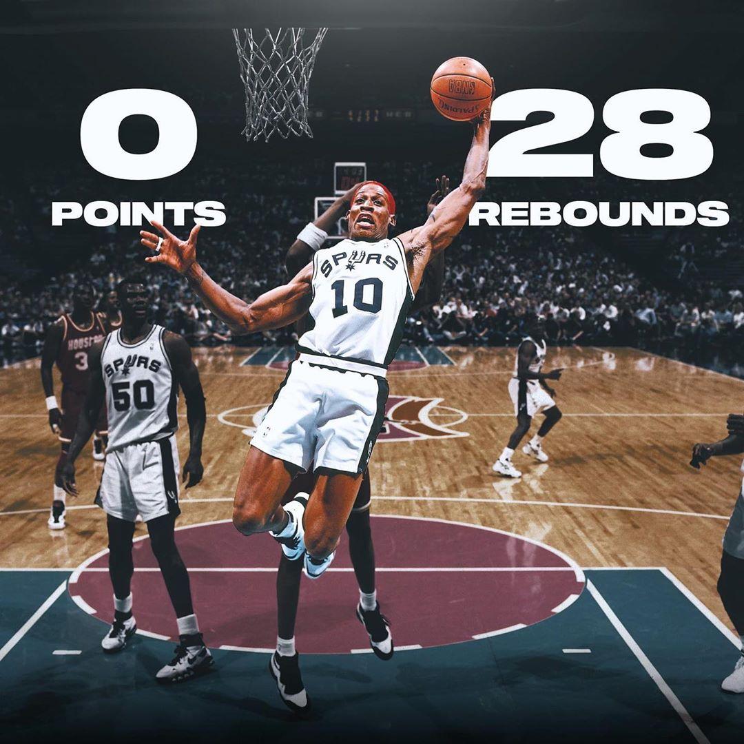 罗德曼曾单场得到0分28板,保持着单场0分时最多篮板纪录