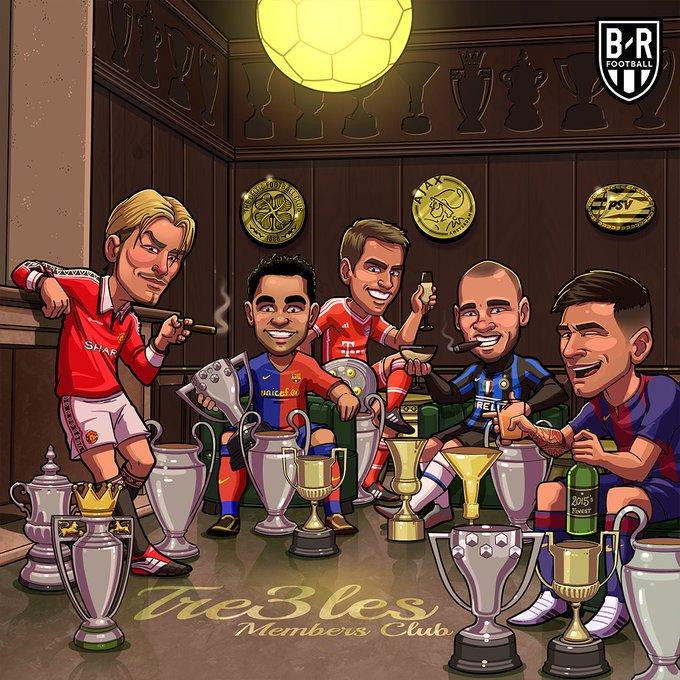 B/R海报:曼联巴萨国米拜仁在列,三冠王俱乐部的聚会