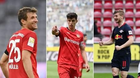踢球者德甲周最佳:穆勒、哈弗茨和维尔纳领衔