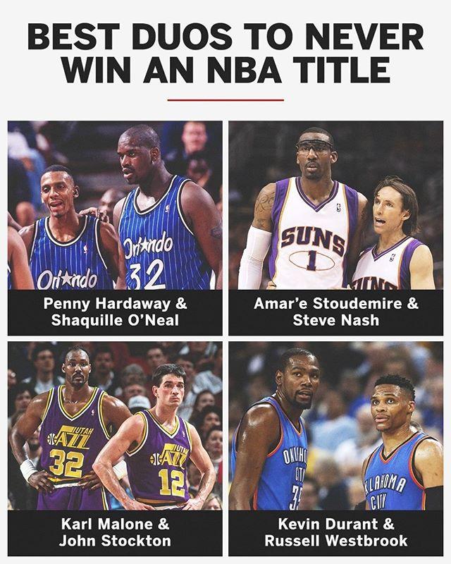 美媒提问:哪一组是NBA历史上没能携手夺冠最棒的二人组