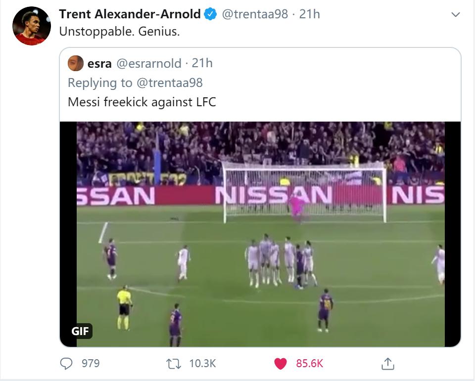 阿诺德评价去年梅西欧冠半决赛任意球:不可阻挡,天才