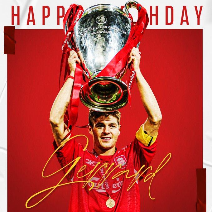 传奇!利物浦官方祝杰拉德40岁生日快乐