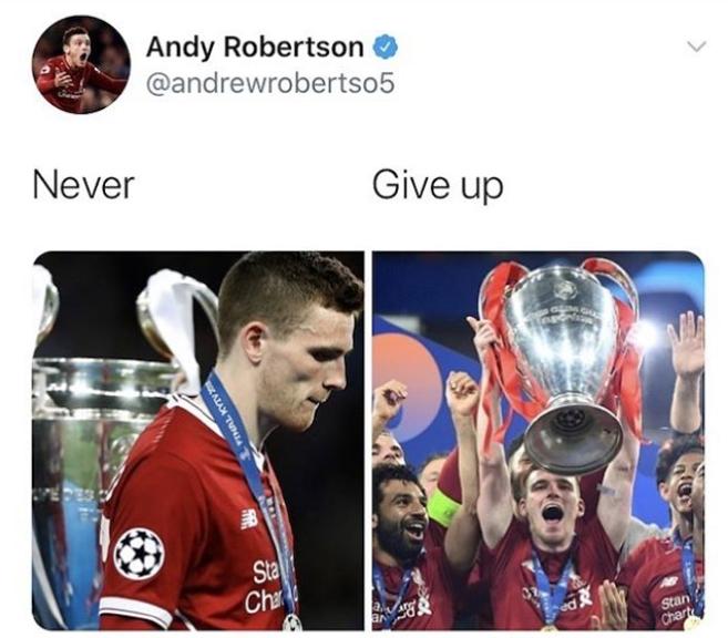 红军精神!罗伯逊晒欧冠决赛失利与去年终捧杯照:不放弃