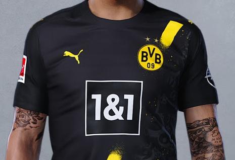 多特新赛季客场球衣谍照:黄色斜杠配涂鸦,胸前赞助商变更