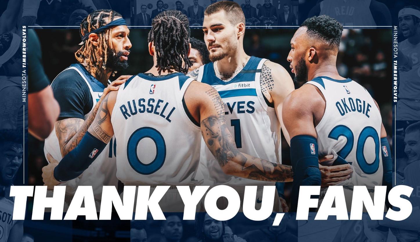 森林狼致谢球迷:谢谢你们,下赛季见