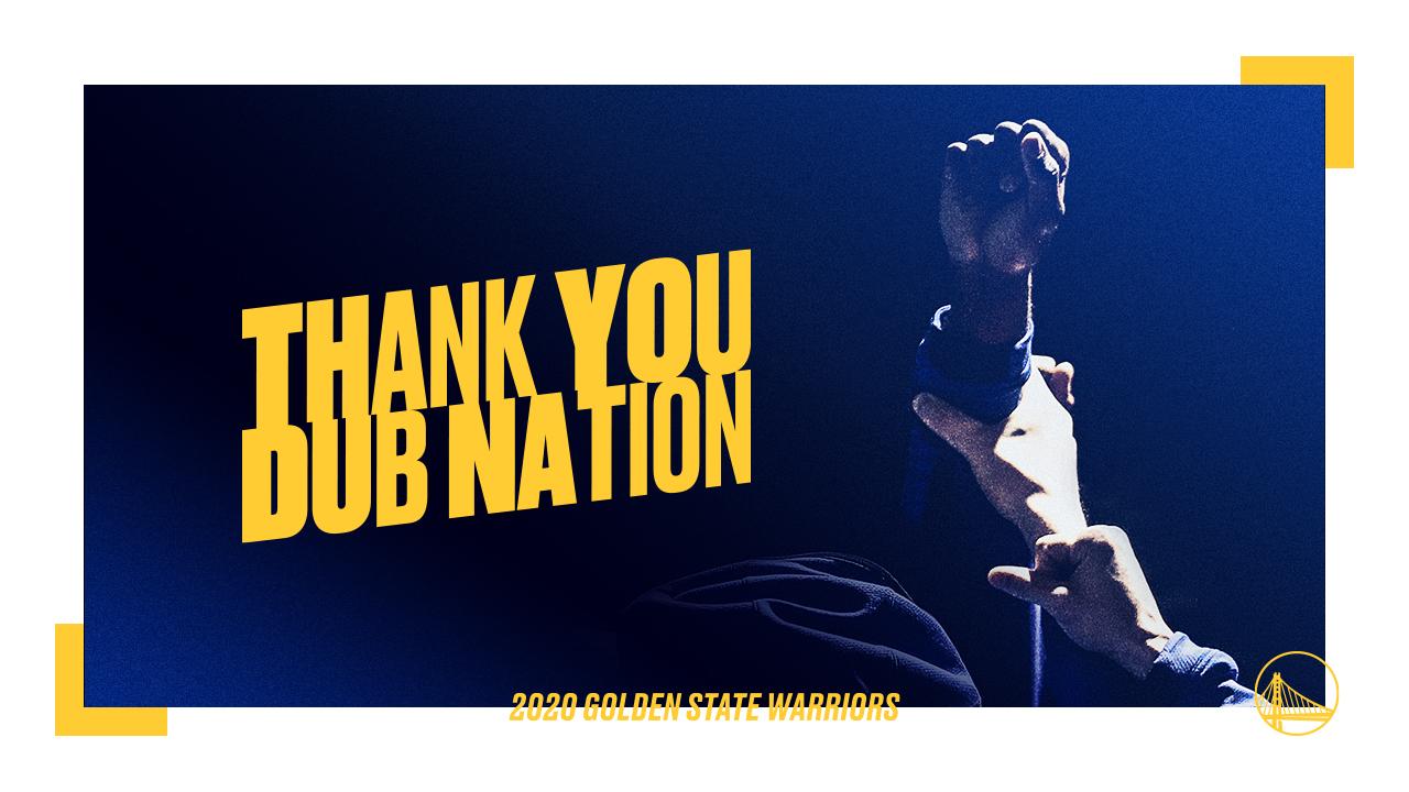 勇士官推感谢球迷:赛季出乎预料,谢谢你们的忠实支持