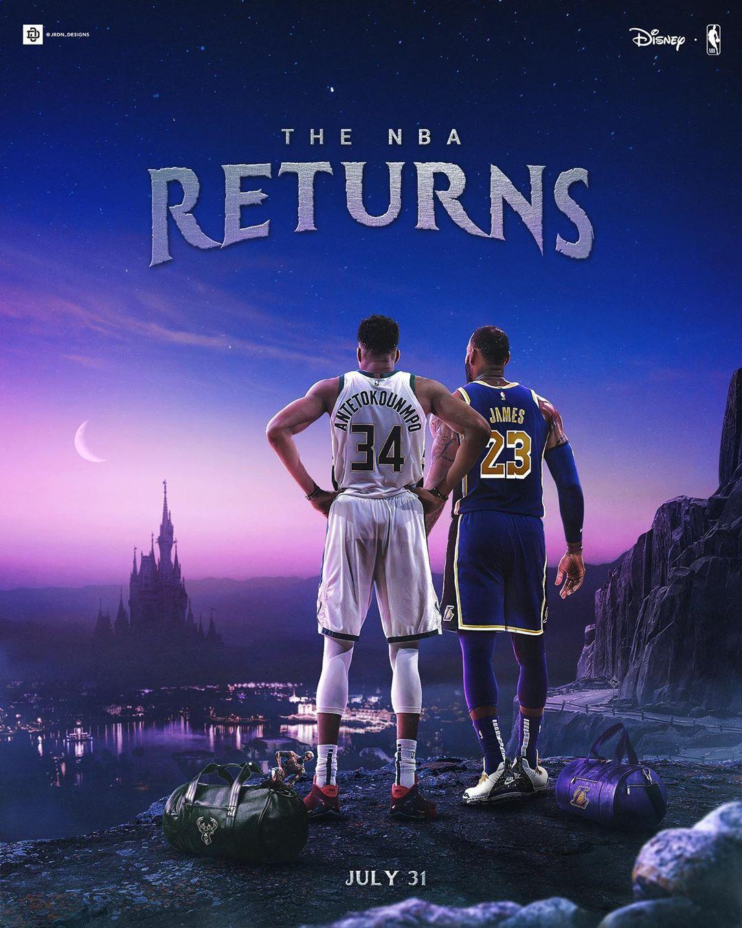 盛宴归来!媒体制作NBA与迪士尼元素融合的宣传海报
