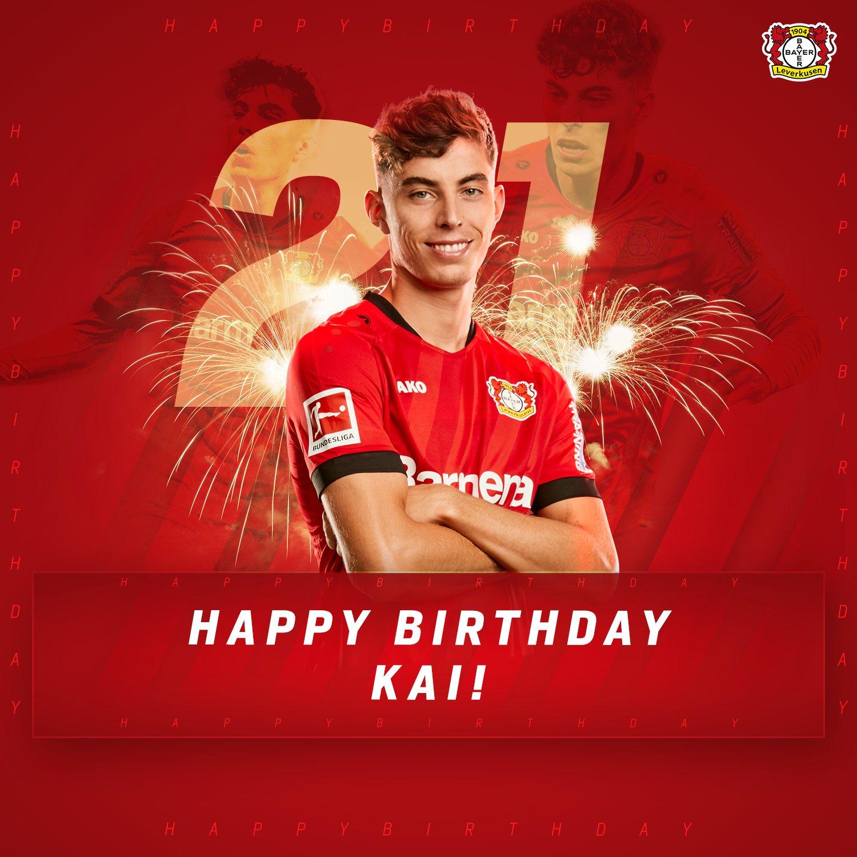 德甲历史上最年轻35球先生,哈弗茨迎来21岁生日