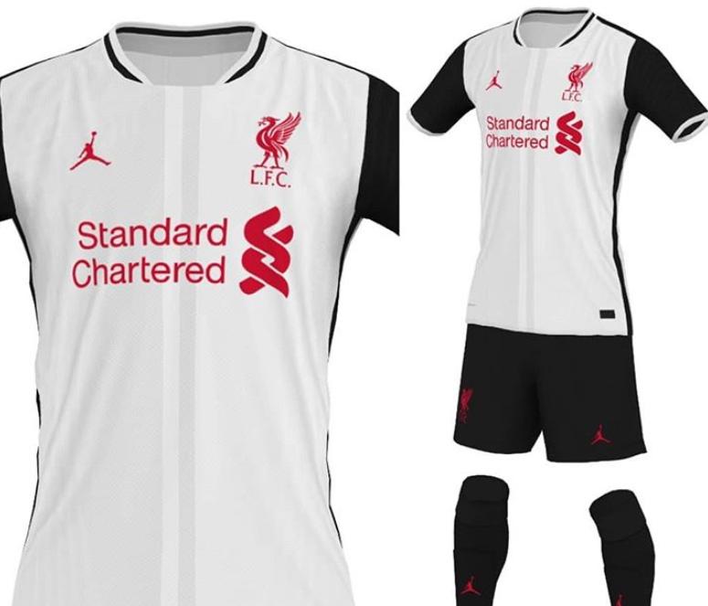 利物浦AJ联名新赛季球衣谍照:主体白色,衣袖和球裤黑色