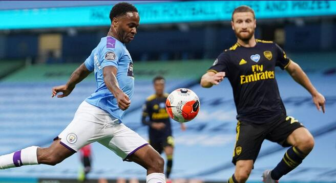 半场:斯特林破门马赫雷斯单刀被扑,曼城1-0阿森纳