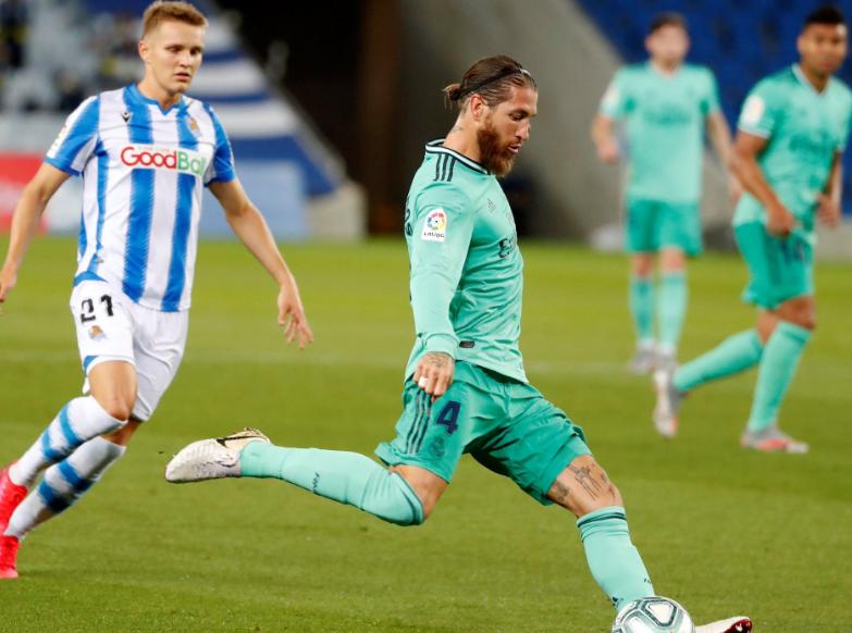 拉莫斯2020年已在联赛中打进4球,为皇马队内最众