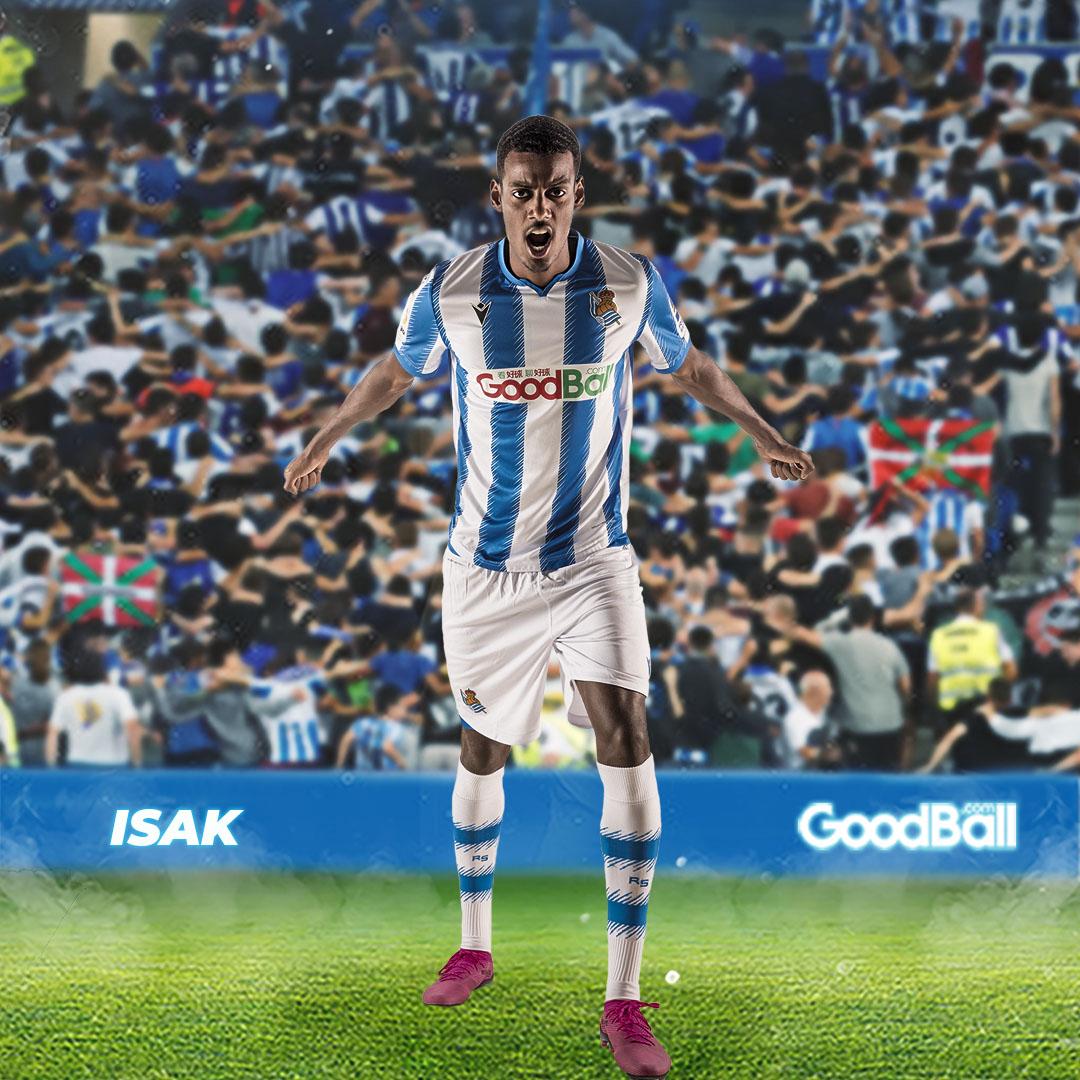 GIF:伊萨克抢点扫射破门,皇家社会领先西班牙人  足球话题区