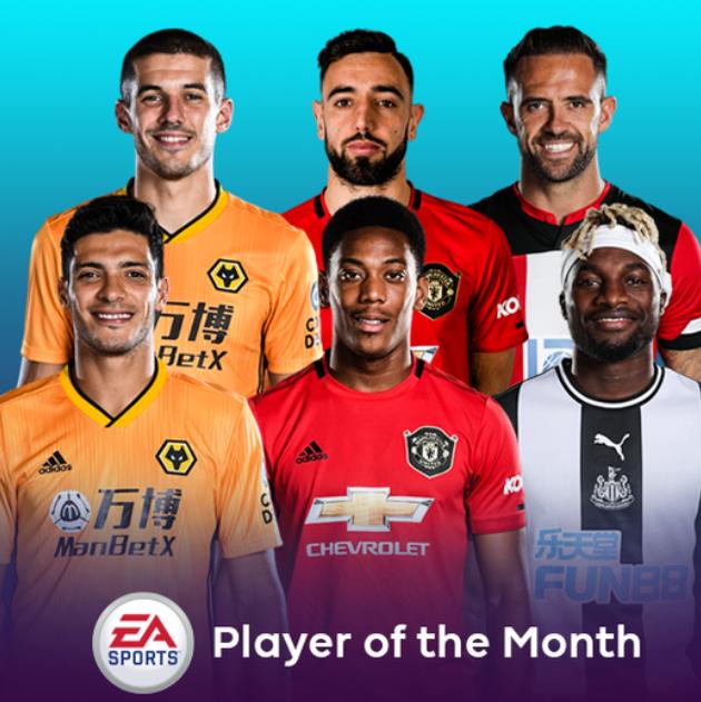 英超6月最佳球员候选名单:B费、马夏尔领衔,希门尼斯在列