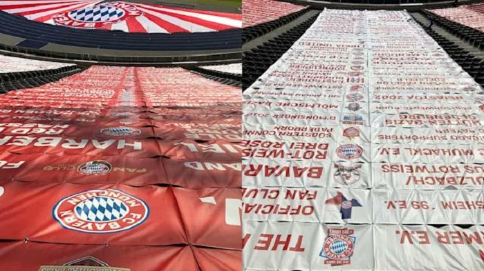 壮观!拜仁900个球迷俱乐部标志出现在德国杯决赛场地