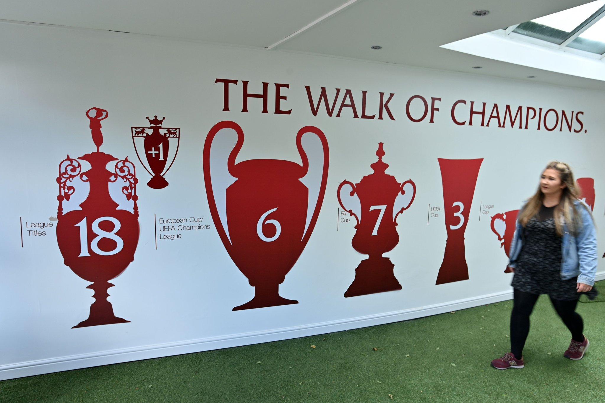 18 1!安菲尔德球场冠军墙更新,联赛冠军数 1