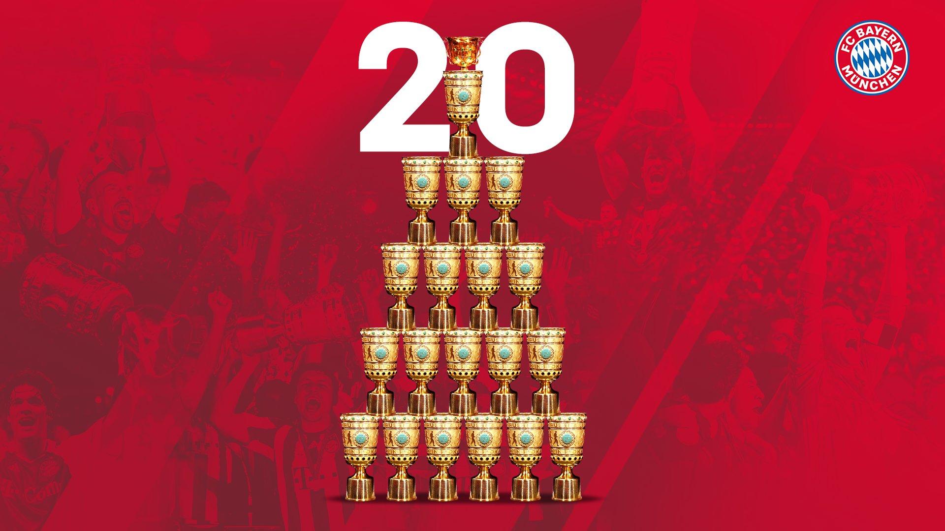 拜仁已赢得20座德国杯冠军,并13次斩获国内双冠王