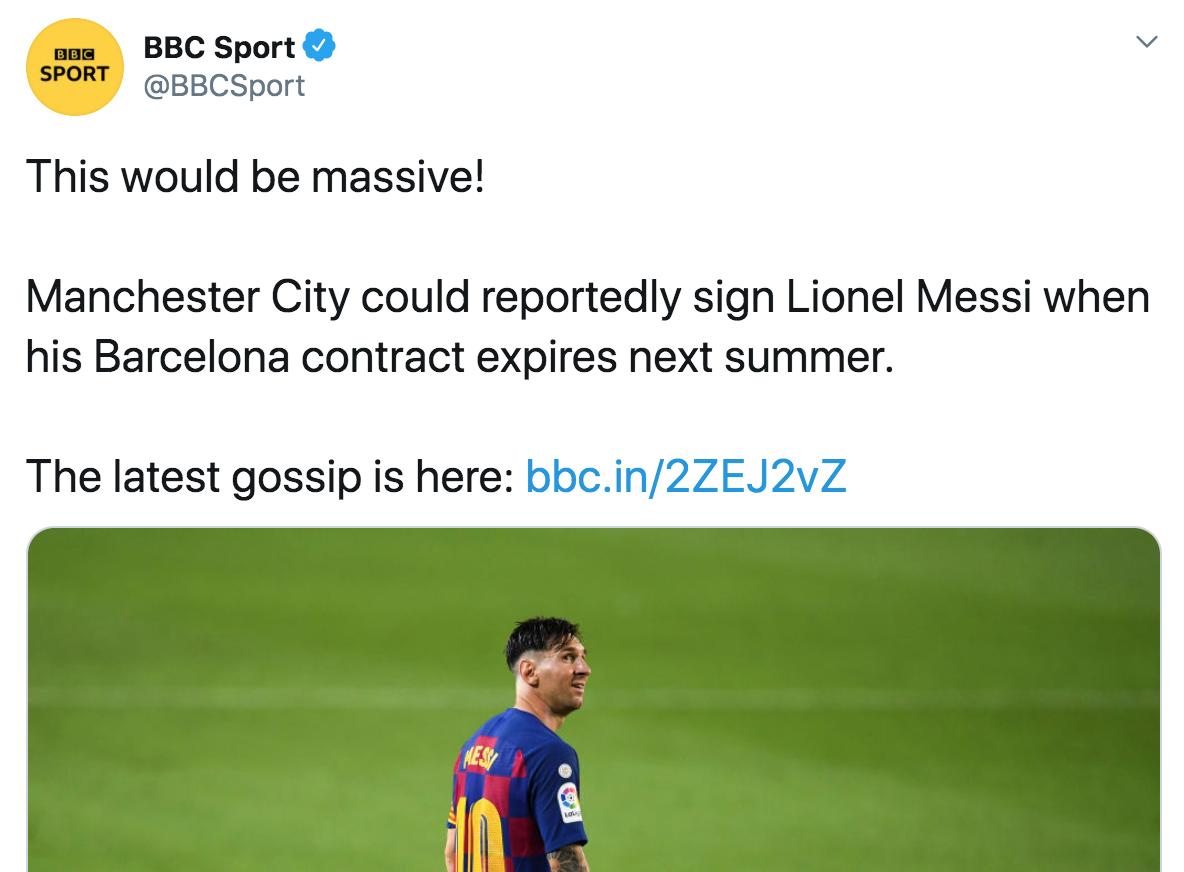 BBC说曼城正在考虑签下梅西?虎扑来驳斥谣言:别瞎说,它没有