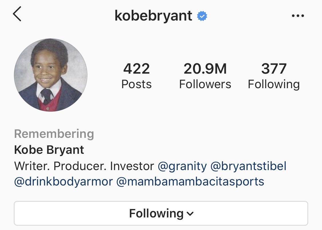科比Instagram主页被设置为悼念账户,任何人都无法登录
