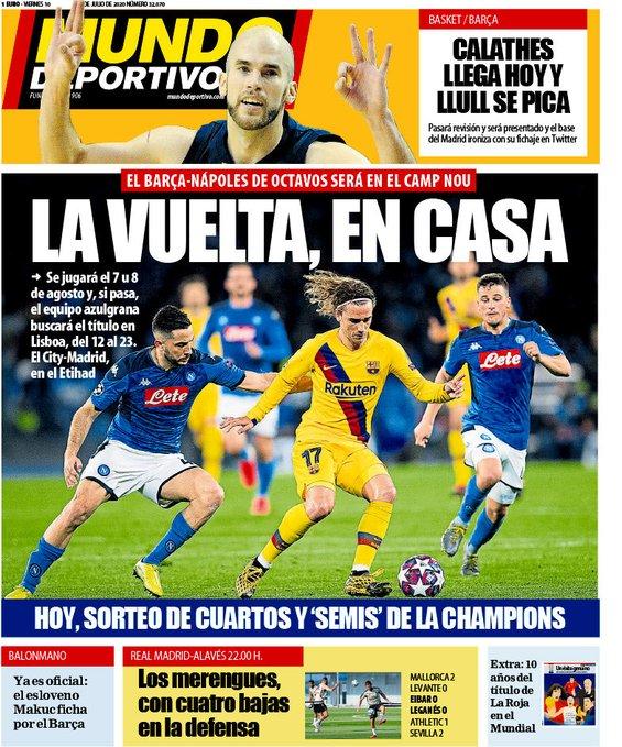世体封面:欧冠1/8决赛次回合,巴萨将在主场对阵那不勒斯