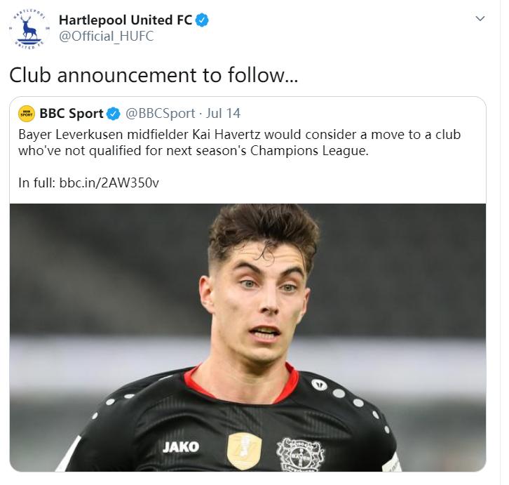 哈弗茨不踢欧冠也可以?