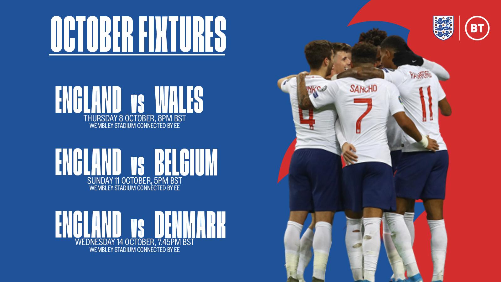 """官方:英格兰将于10月8日与威尔士进行友谊赛"""""""