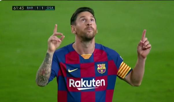 GIF:梅西直接任意球破门,巴萨1-1奥萨苏纳
