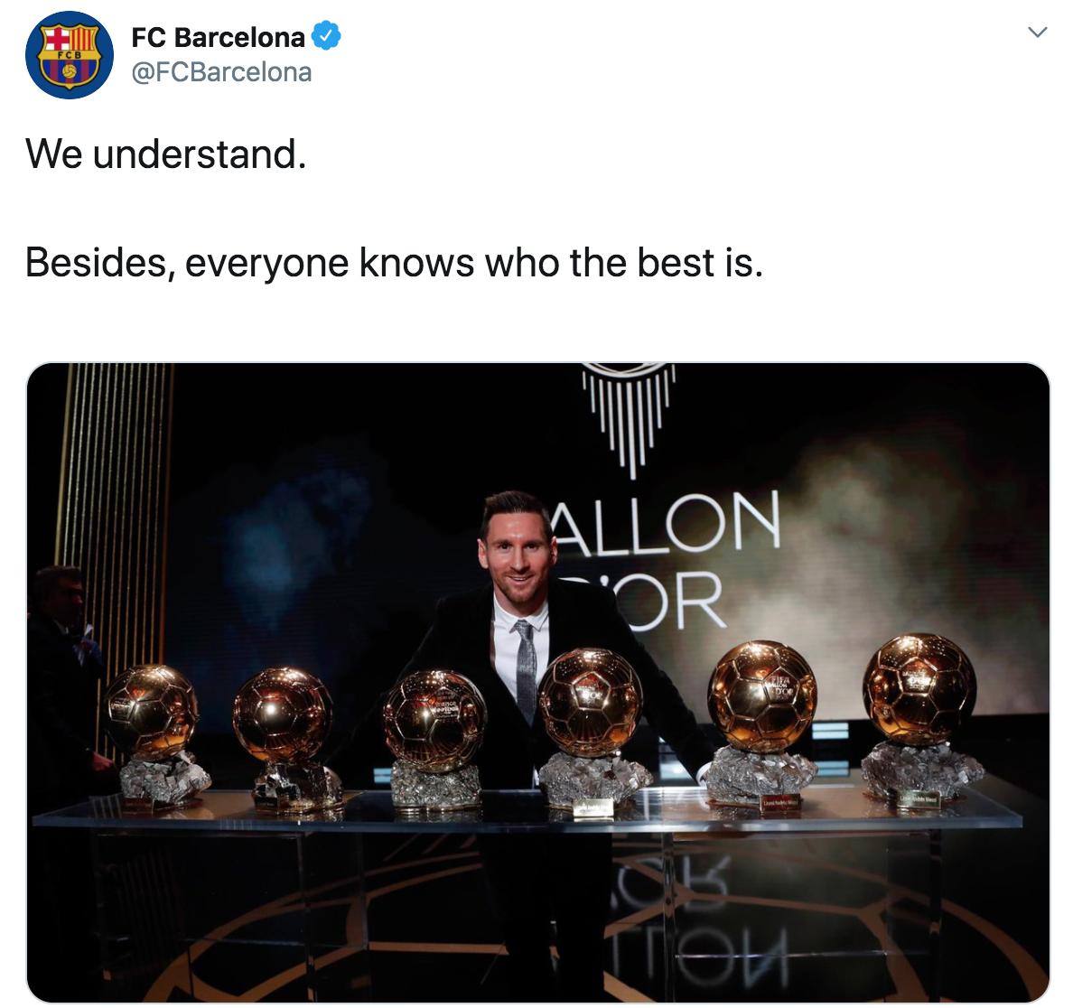 金球奖取消!巴萨官推晒梅西照:理解,都知道谁是世界最佳