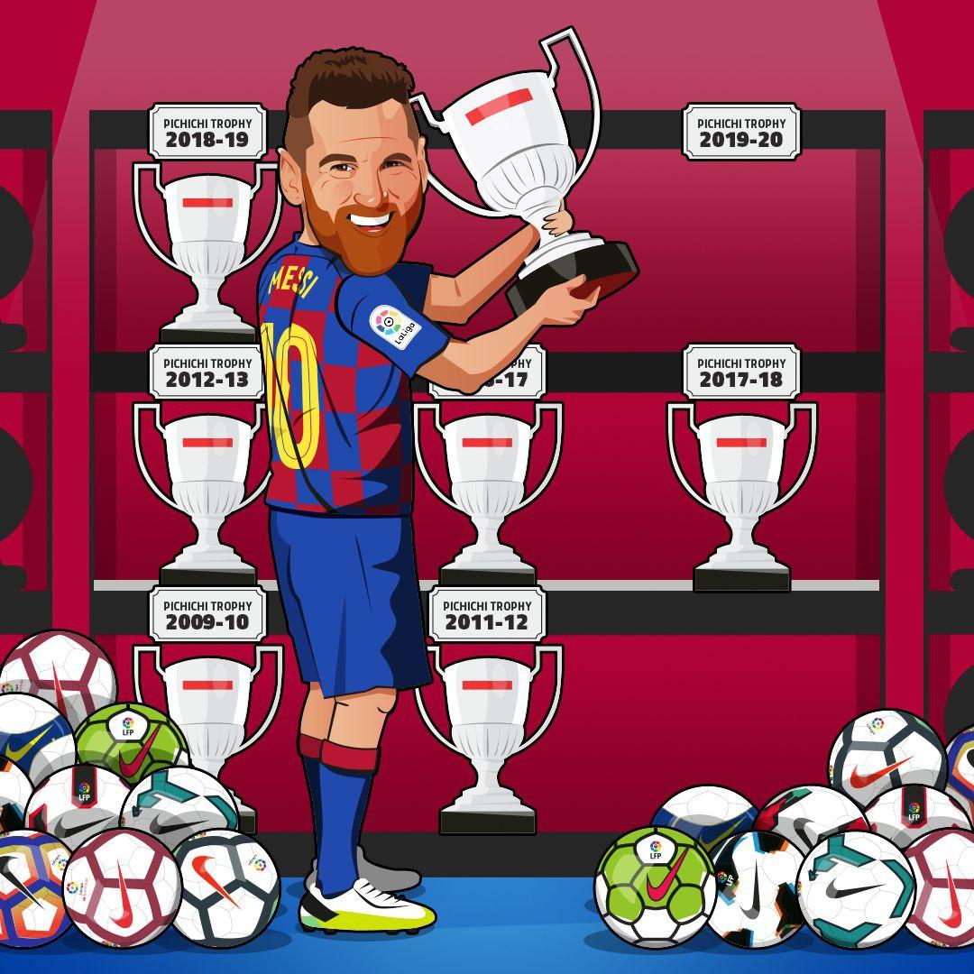 梅西连续4个赛季夺得西甲金靴,个人7夺皮奇奇奖历史首人