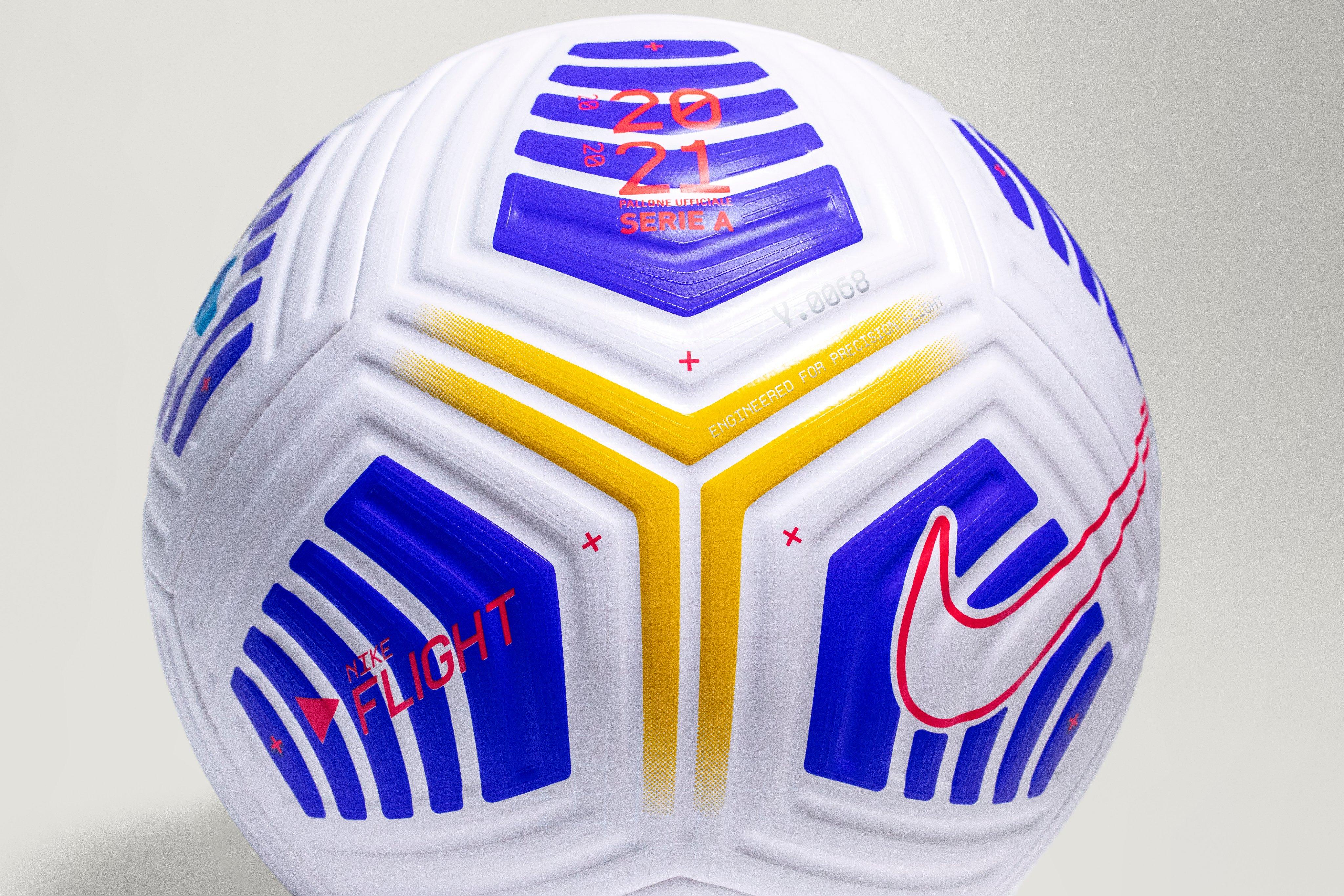 官方:意甲发布新赛季比赛用球,蓝黄配色条纹状