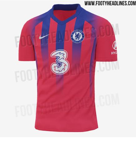 切尔西新赛季第三客场球衣谍照:大红色主调+蓝色条纹