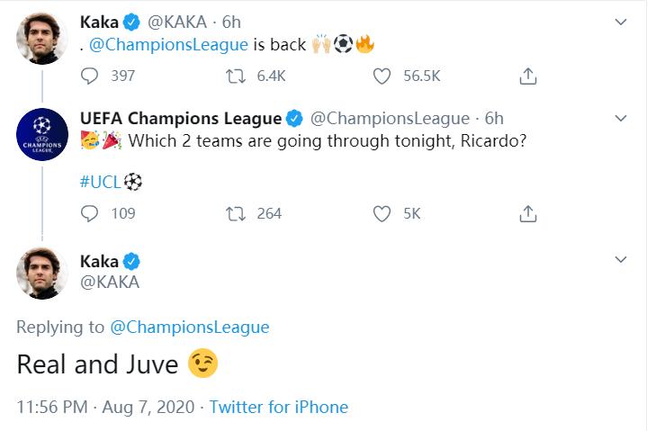 都怪卡卡?卡卡赛前展望皇马尤文晋级,效果均遭到裁汰