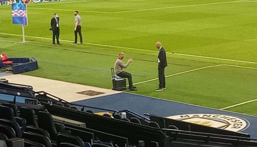 聊啥呢?齐达内与瓜迪奥拉在欧冠赛后场边相谈甚欢