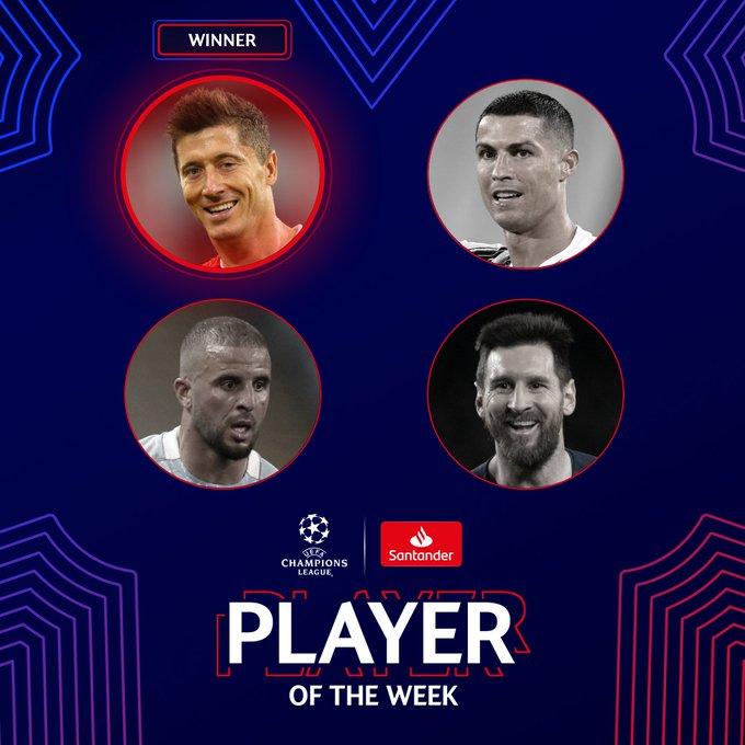 力压梅罗!官方:莱万当选欧冠本周最佳球员