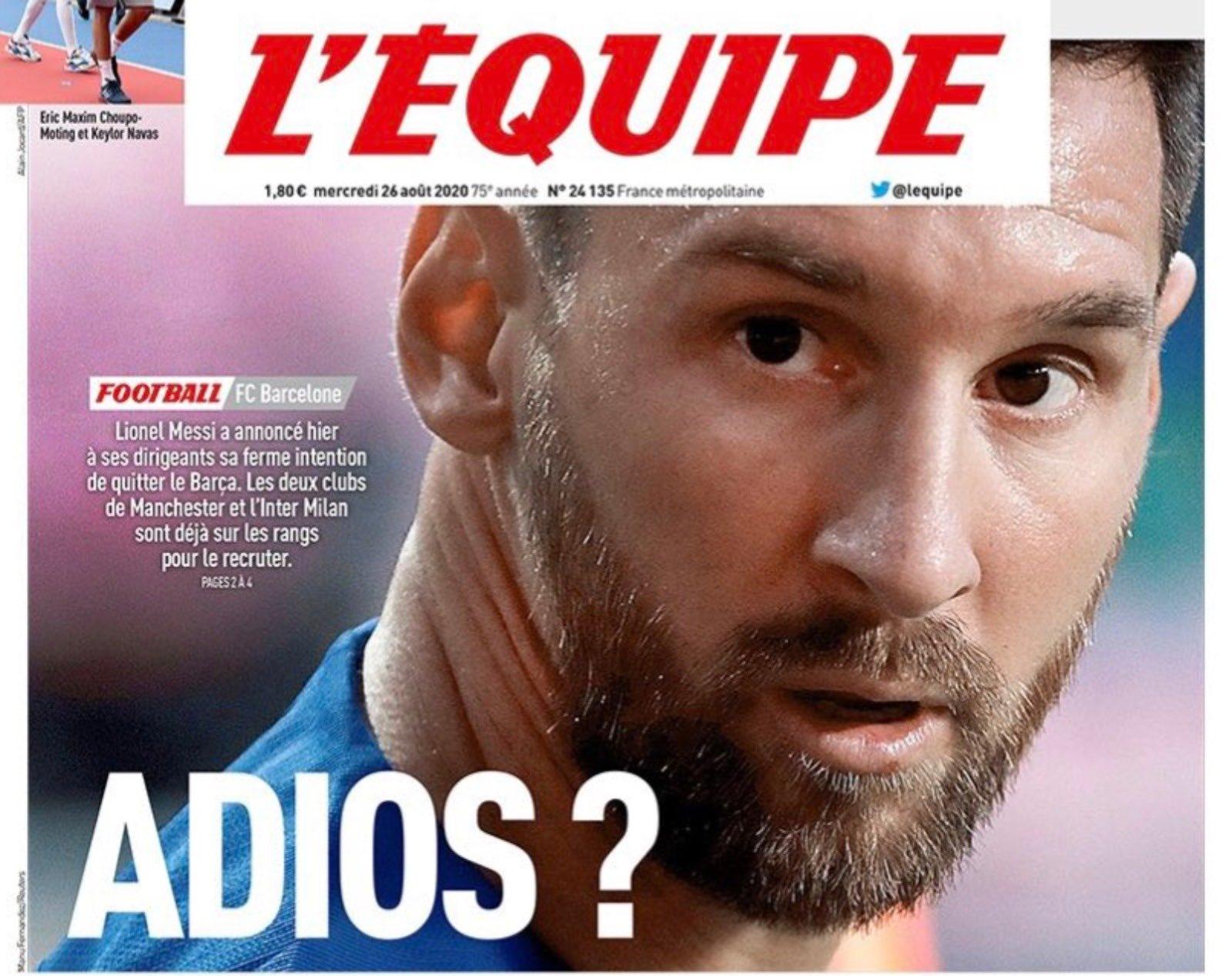 多家媒体封面聚焦梅西离队:梅西已明确表示自己想离开巴萨