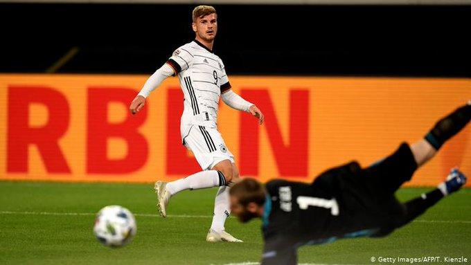 GIF:维尔纳禁区中路得球低射破门,德国队打破僵局