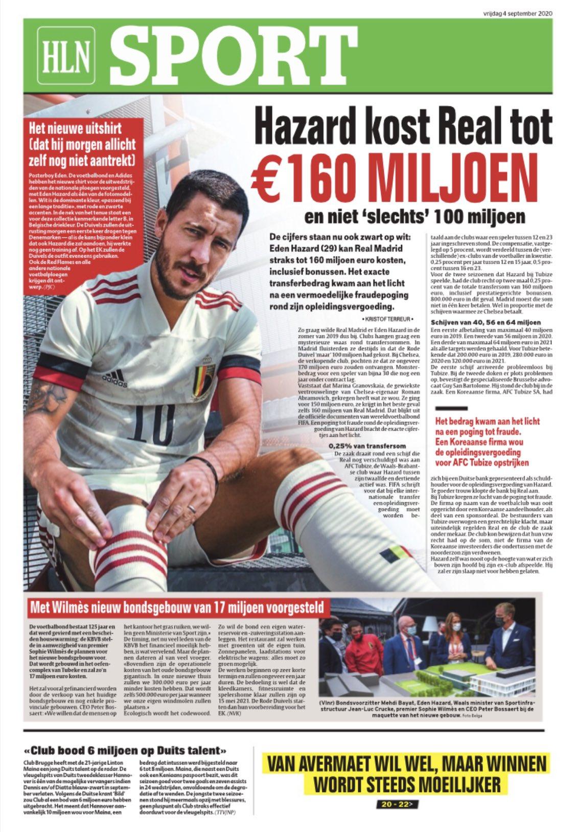 比利时媒体:阿扎尔转会皇马的总金额可能为1.6亿欧元
