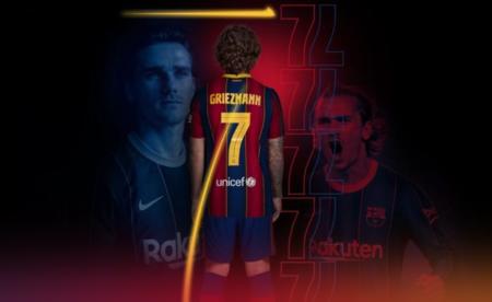 官方:格列兹曼新赛季身穿巴萨7号球衣
